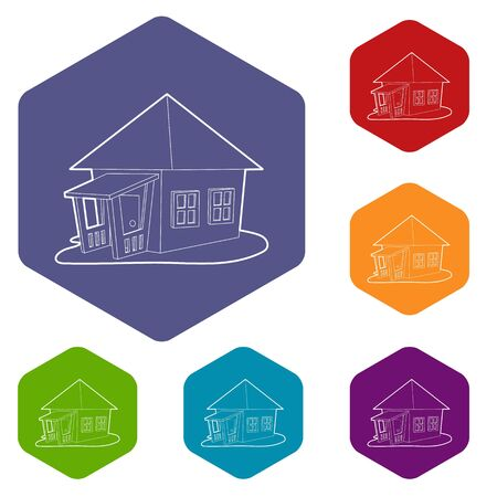 Bungalow icons vector hexahedron