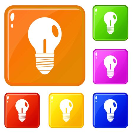 Light bulb icons set collection vector 6 color isolated on white background