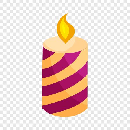 Festive candle icon in cartoon style isolated on background for any web design