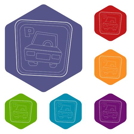 Car parking sign icons vector colorful hexahedron set collection isolated on white