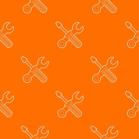 Crossed screwdriver and wrench pattern vector orange for any web design best