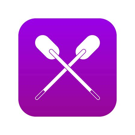 Two wooden crossed oars icon digital purple for any design isolated on white vector illustration Çizim
