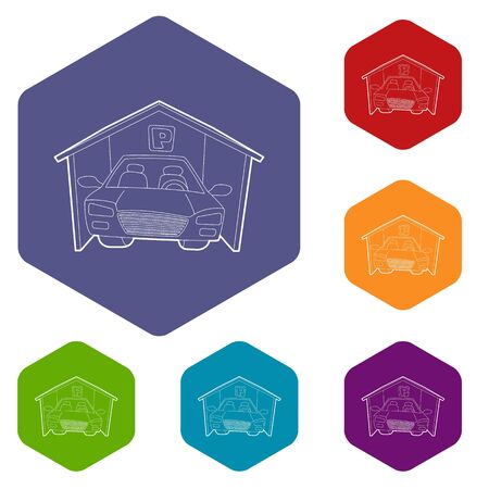 Covered car parking icons vector colorful hexahedron set collection isolated on white