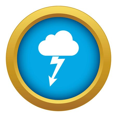 Cloud with lightning icon blue vector isolated on white background for any design