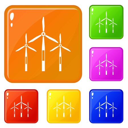 Wind generator turbines icons set collection vector 6 color isolated on white background