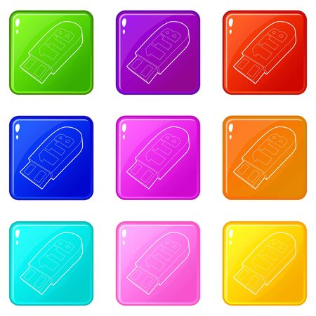 Flash drive icons set 9 color collection