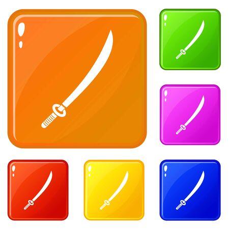 Katana icons set vector color Stock Vector - 127306405