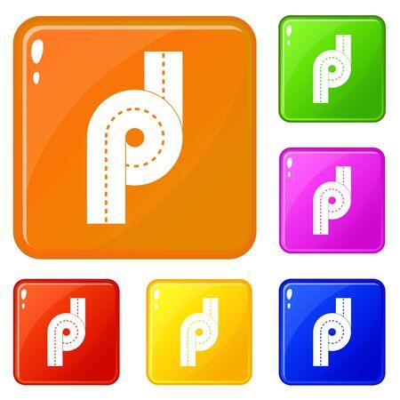 Little road junction icons set vector color Illustration