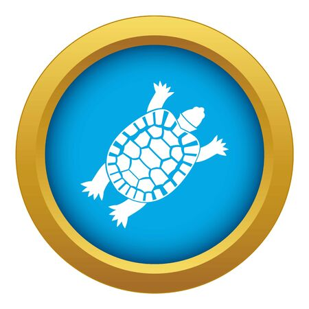 Turtle icon blue vector isolated