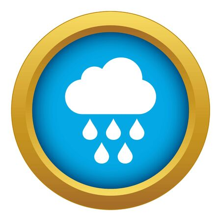 Cloud with rain drops icon blue vector isolated on white background for any design
