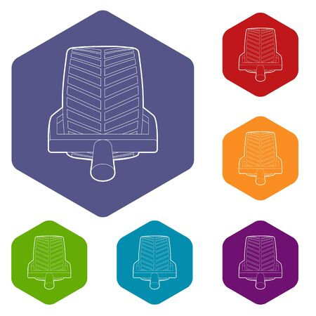 Car wheel clamp icons vector colorful hexahedron set collection isolated on white Illustration