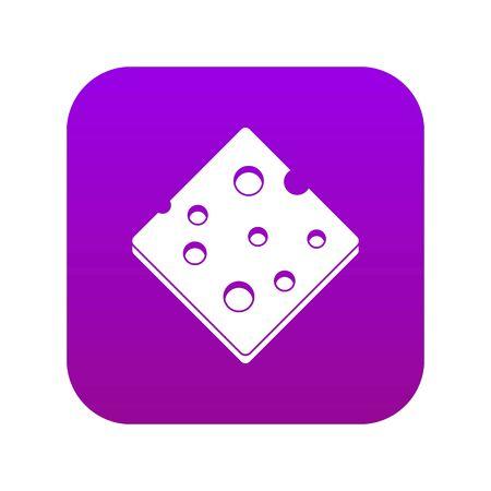 Cheese fresh block icon digital purple