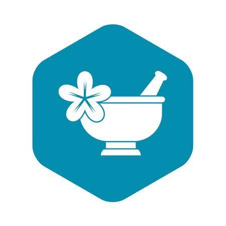 Mortar and pestle pharmacy icon. Simple illustration of mortar and pestl vector icon for web design