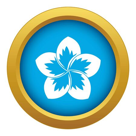 Frangipani flower icon blue vector isolated on white background for any design