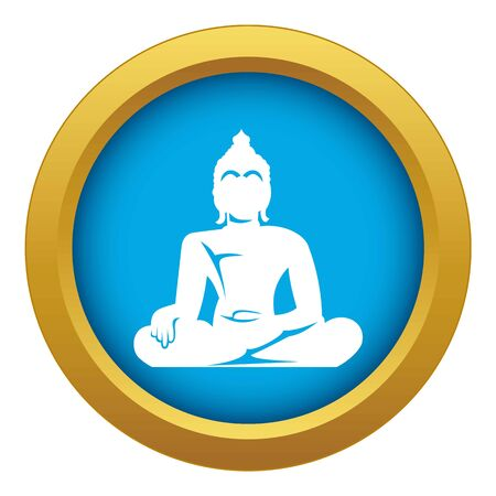 Statue of Buddha sitting in lotus pose icon blue vector isolated Illustration