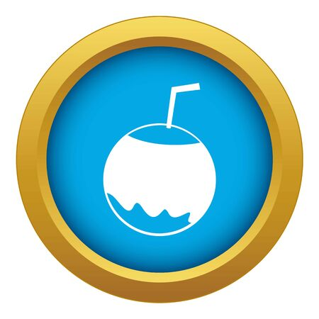 Coconut with straw icon blue vector isolated on white background for any design Ilustração