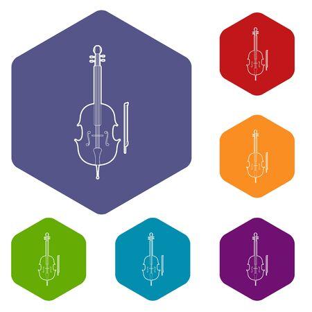 Violin icons vector hexahedron Stock Illustratie