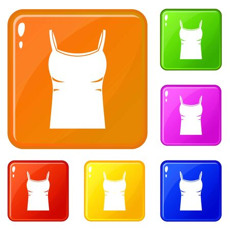 Blank women tank top icons set collection vector 6 color isolated on white background