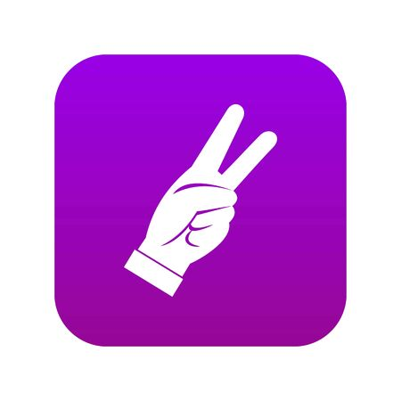 Hand showing victory sign icon digital purple