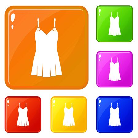 Nightdress icons set vector color