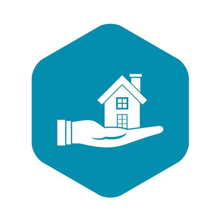House in hand icon. Simple illustration of house in hand vector icon for web design