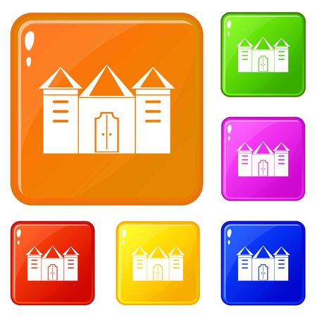 Wall and gate of the old fortress icons set vector color