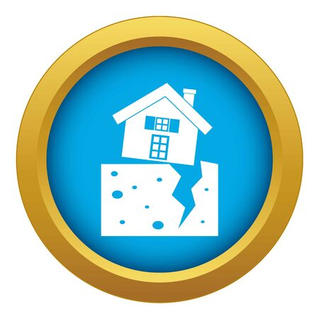 House after an earthquake icon blue vector isolated on white background for any design
