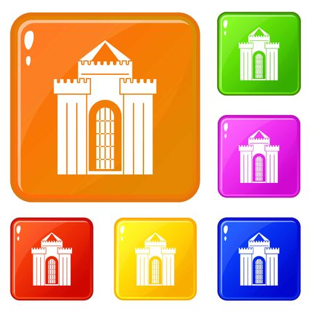 Medieval palace icons set vector color