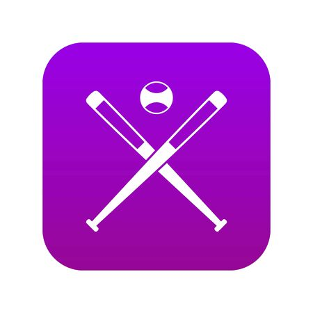 Crossed baseball bats and ball icon digital purple for any design isolated on white vector illustration