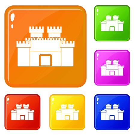 Ancient fortress icons set collection vector 6 color isolated on white background Vector Illustration