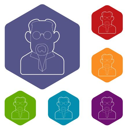Scientist icons vector colorful hexahedron set collection isolated on white