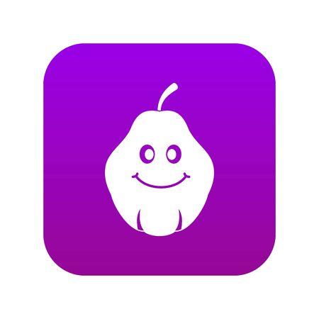Smiling quince fruit icon digital purple Ilustracja