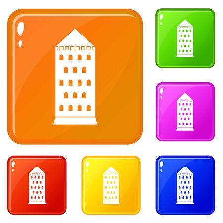 Ancient building icons set vector color