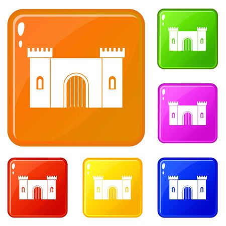 Fortress with gate icons set vector color