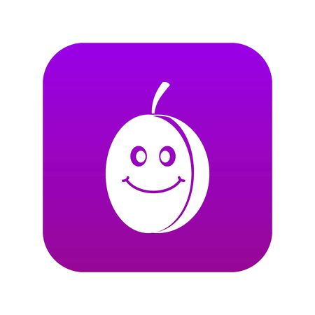 Fresh smiling plum icon digital purple for any design isolated on white vector illustration