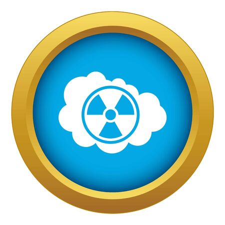 Cloud and radioactive sign icon blue vector isolated on white background for any design