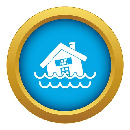House sinking in a water icon blue vector isolated on white background for any design