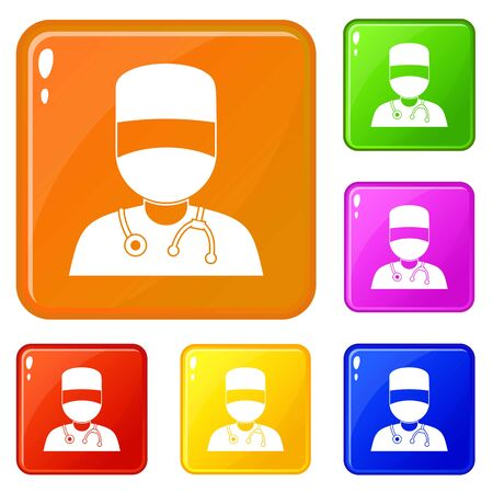 Doctor with mask icons set collection vector 6 color isolated on white background Illustration