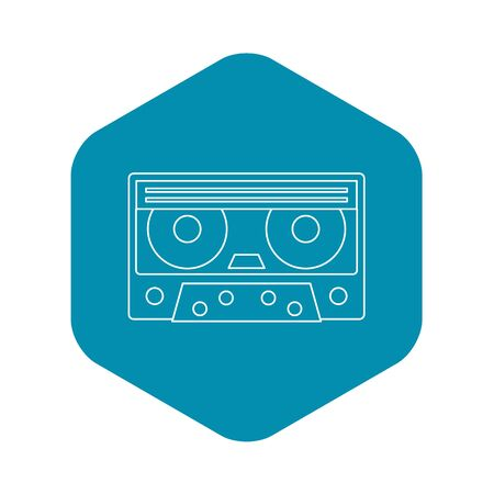 Cassette tape icon. Outline illustration of cassette tape icon for web 免版税图像