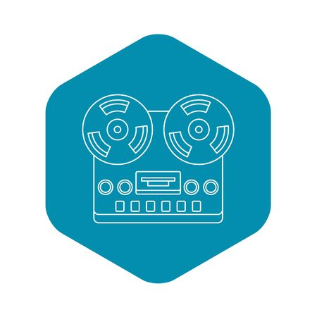 Analog stereo open reel tape deck recorder icon. Outline illustration of analog stereo open reel tape deck recorder icon for web