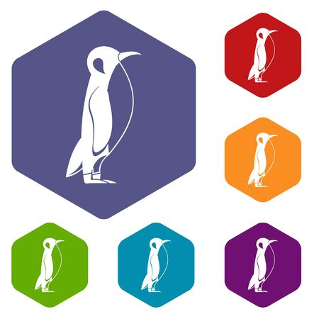 Penguin icons colorful hexahedron set collection isolated on white