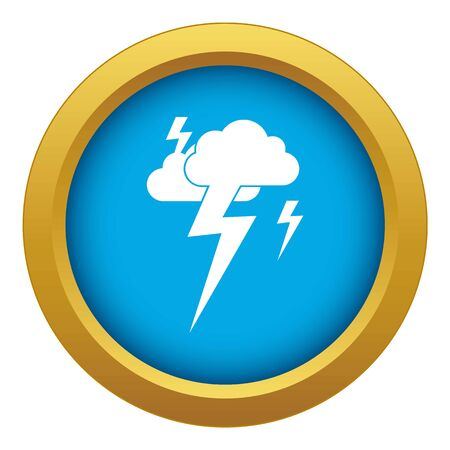 Cloud and lightning icon blue vector isolated on white background for any design