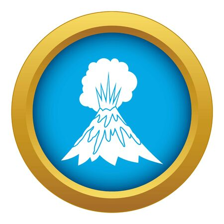 Volcano erupting icon blue vector isolated on white background for any design Çizim