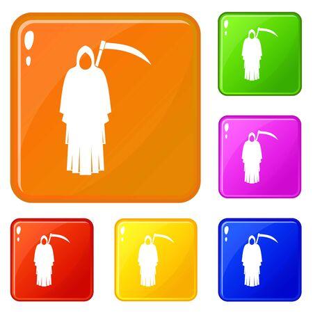 Death with scythe icons set vector color