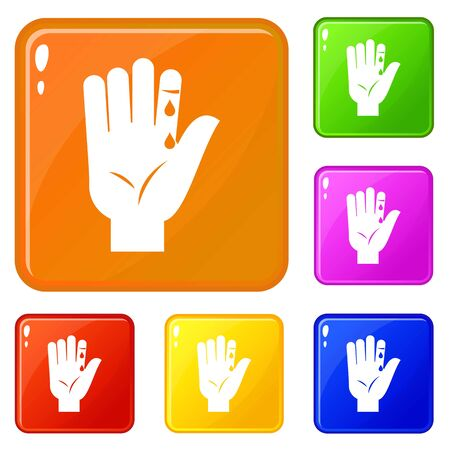 Finger with blood dripping icons set collection vector 6 color isolated on white background
