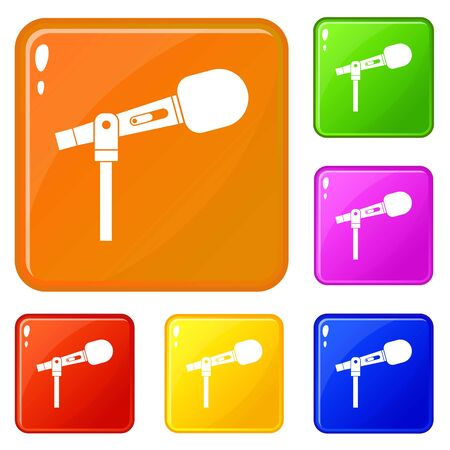 Microphone icons set vector color