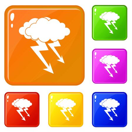 Lightning cloud icons set collection vector 6 color isolated on white background