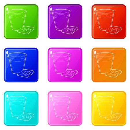 Glass of water and sleeping pills icons set 9 color collection isolated on white for any design