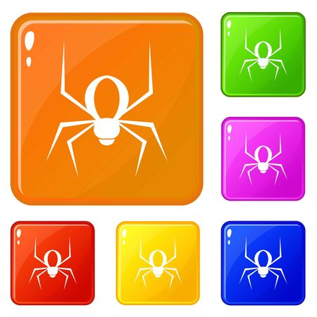 Spider icons set collection vector 6 color isolated on white background