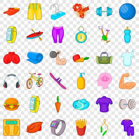 Swimming icons set, cartoon style